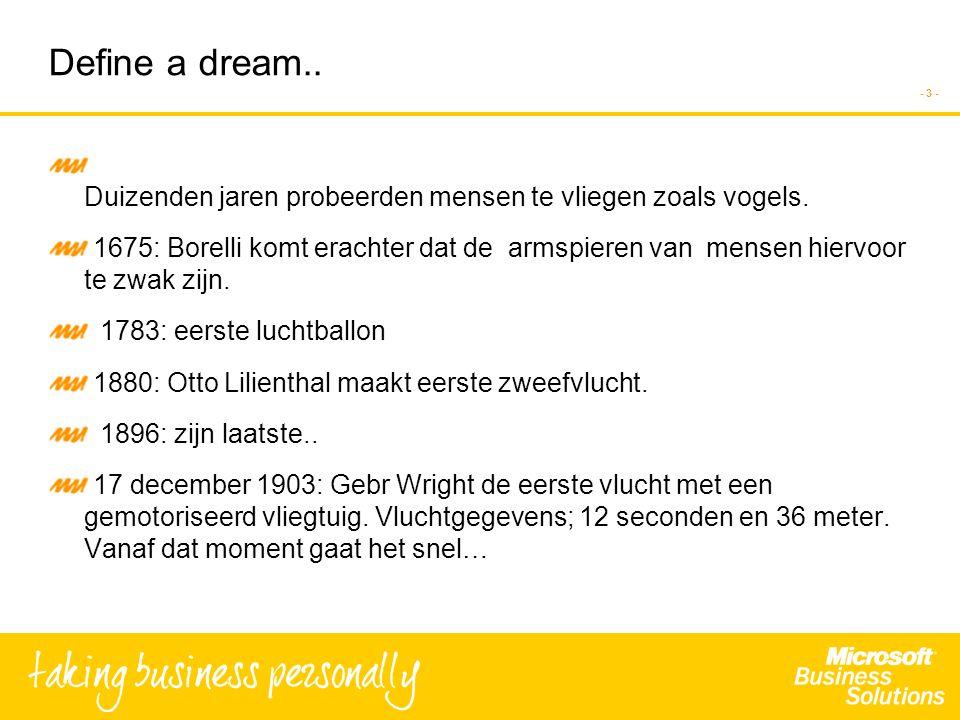 - 3 - Define a dream..D uizenden jaren probeerden mensen te vliegen zoals vogels.