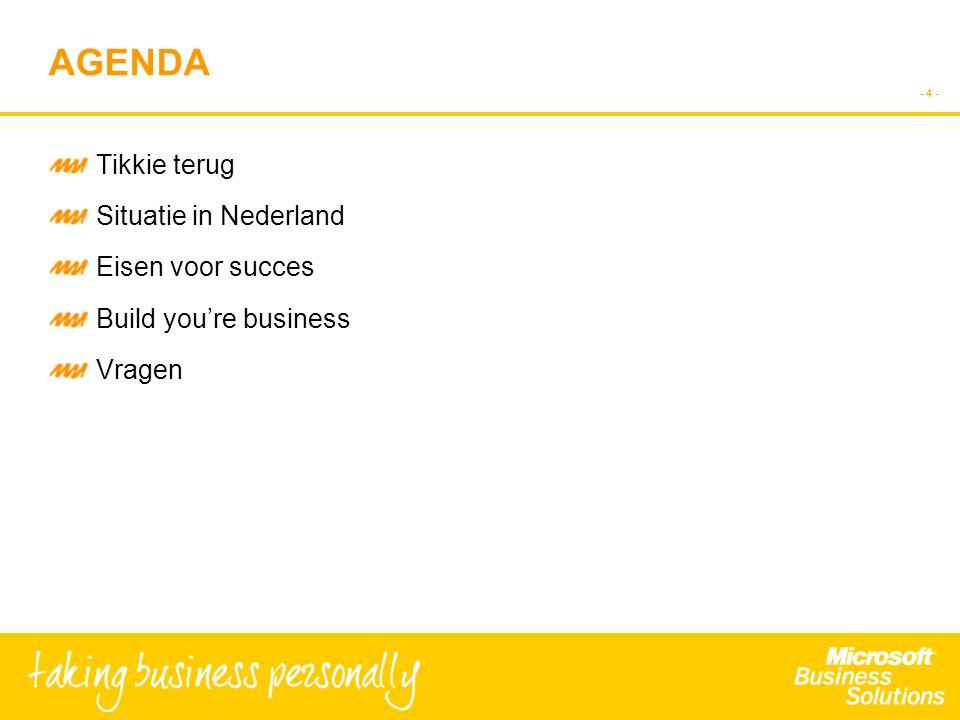 - 4 - AGENDA Tikkie terug Situatie in Nederland Eisen voor succes Build you're business Vragen