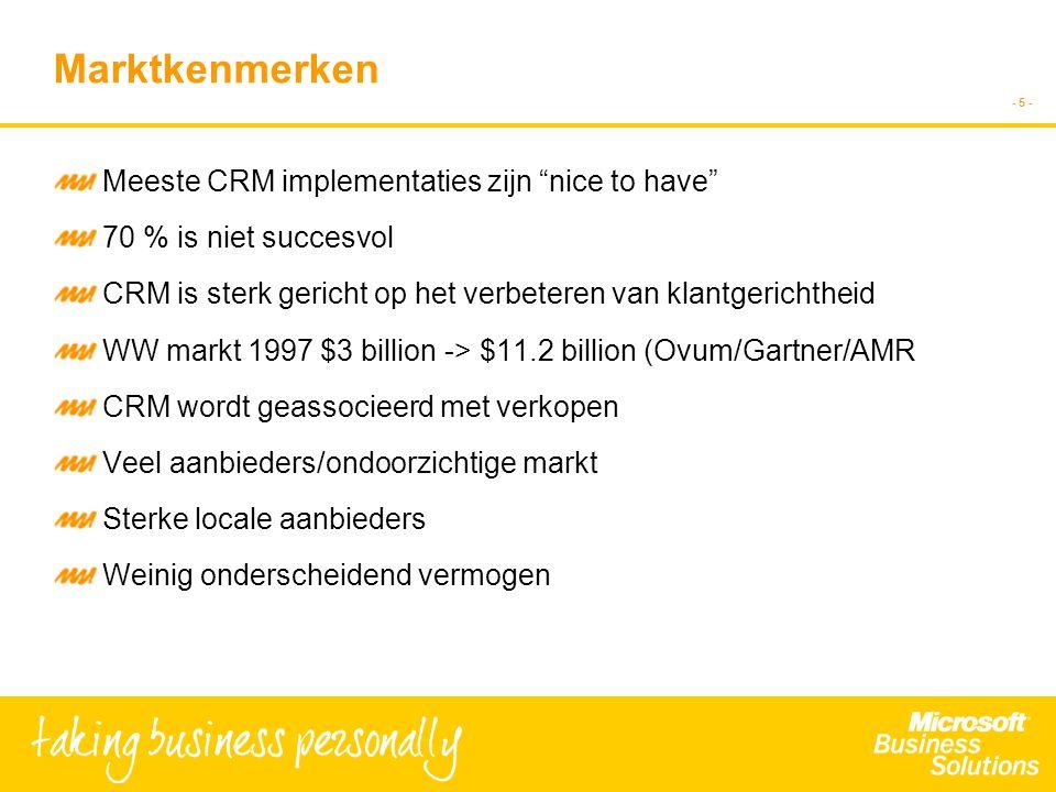 - 5 - Marktkenmerken Meeste CRM implementaties zijn nice to have 70 % is niet succesvol CRM is sterk gericht op het verbeteren van klantgerichtheid WW markt 1997 $3 billion -> $11.2 billion (Ovum/Gartner/AMR CRM wordt geassocieerd met verkopen Veel aanbieders/ondoorzichtige markt Sterke locale aanbieders Weinig onderscheidend vermogen