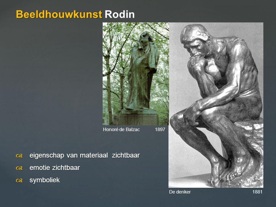 Beeldhouwkunst Beeldhouwkunst Rodin  eigenschap van materiaal zichtbaar  emotie zichtbaar  symboliek De denker 1881 Honoré de Balzac 1897
