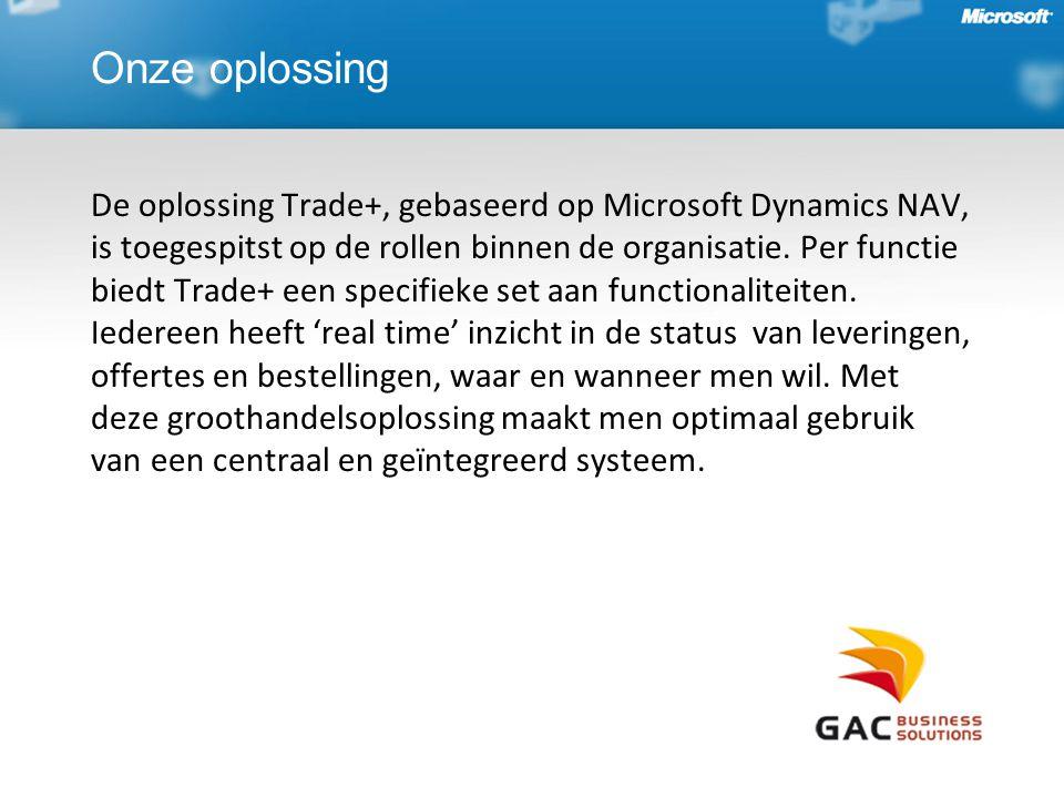 Onze oplossing De oplossing Trade+, gebaseerd op Microsoft Dynamics NAV, is toegespitst op de rollen binnen de organisatie.