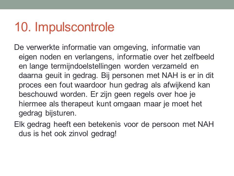 10. Impulscontrole De verwerkte informatie van omgeving, informatie van eigen noden en verlangens, informatie over het zelfbeeld en lange termijndoels