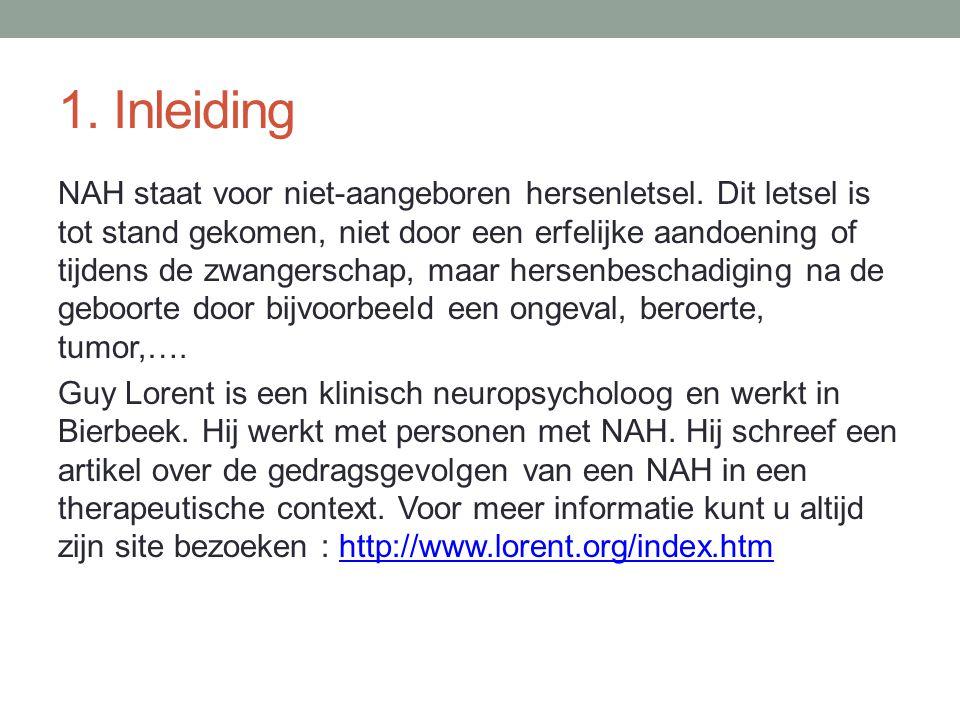 1. Inleiding NAH staat voor niet-aangeboren hersenletsel. Dit letsel is tot stand gekomen, niet door een erfelijke aandoening of tijdens de zwangersch