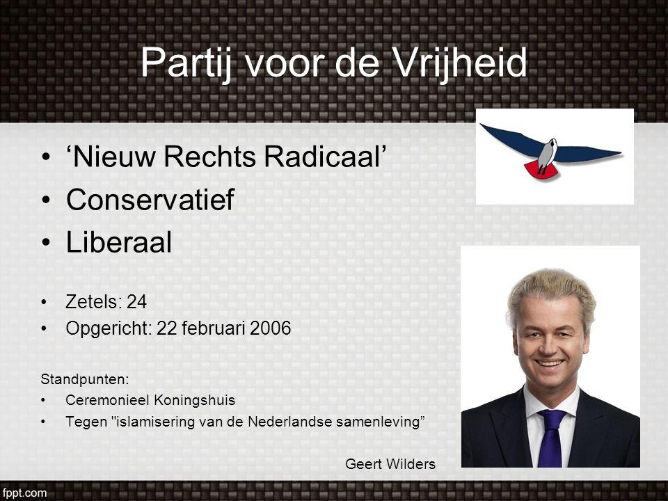Partij voor de Vrijheid 'Nieuw Rechts Radicaal' Conservatief Liberaal Zetels: 24 Opgericht: 22 februari 2006 Standpunten: Ceremonieel Koningshuis Tege