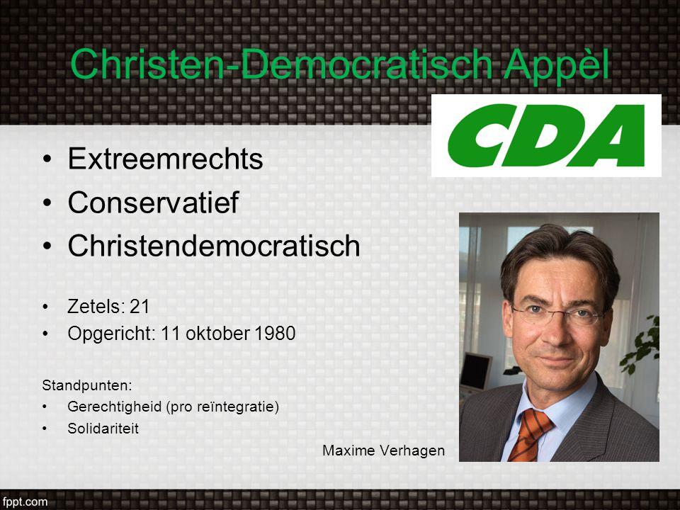 Christen-Democratisch Appèl Extreemrechts Conservatief Christendemocratisch Zetels: 21 Opgericht: 11 oktober 1980 Standpunten: Gerechtigheid (pro reïn