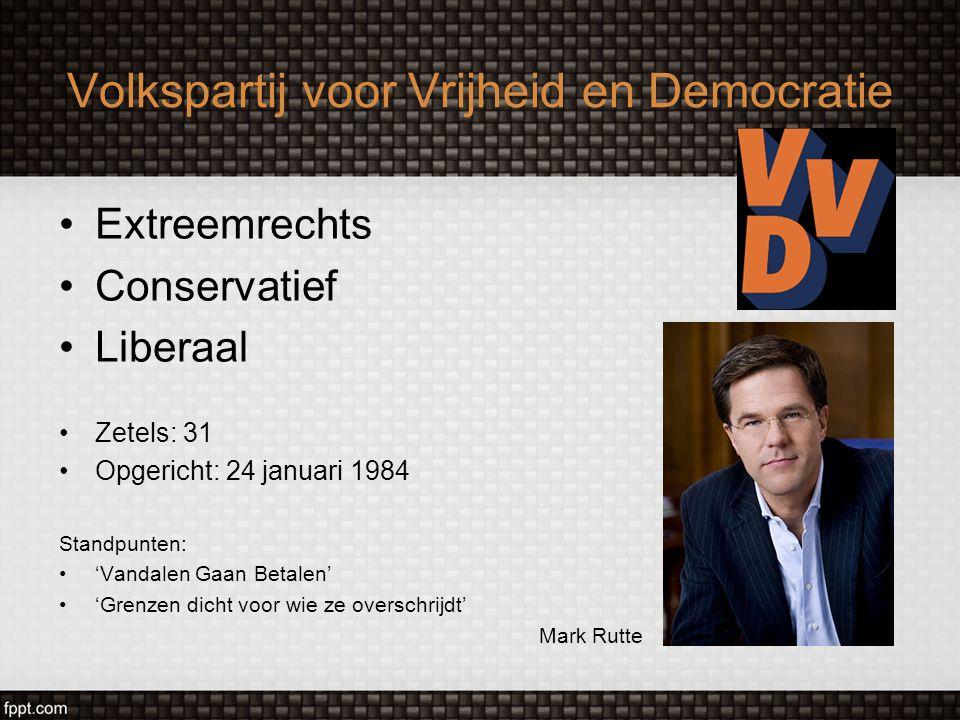 Volkspartij voor Vrijheid en Democratie Extreemrechts Conservatief Liberaal Zetels: 31 Opgericht: 24 januari 1984 Standpunten: 'Vandalen Gaan Betalen'