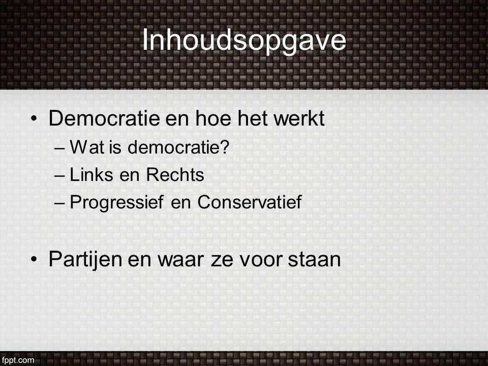 Inhoudsopgave Democratie en hoe het werkt –Wat is democratie? –Links en Rechts –Progressief en Conservatief Partijen en waar ze voor staan