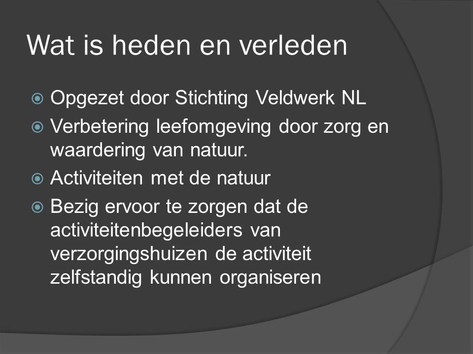 Wat is heden en verleden  Opgezet door Stichting Veldwerk NL  Verbetering leefomgeving door zorg en waardering van natuur.