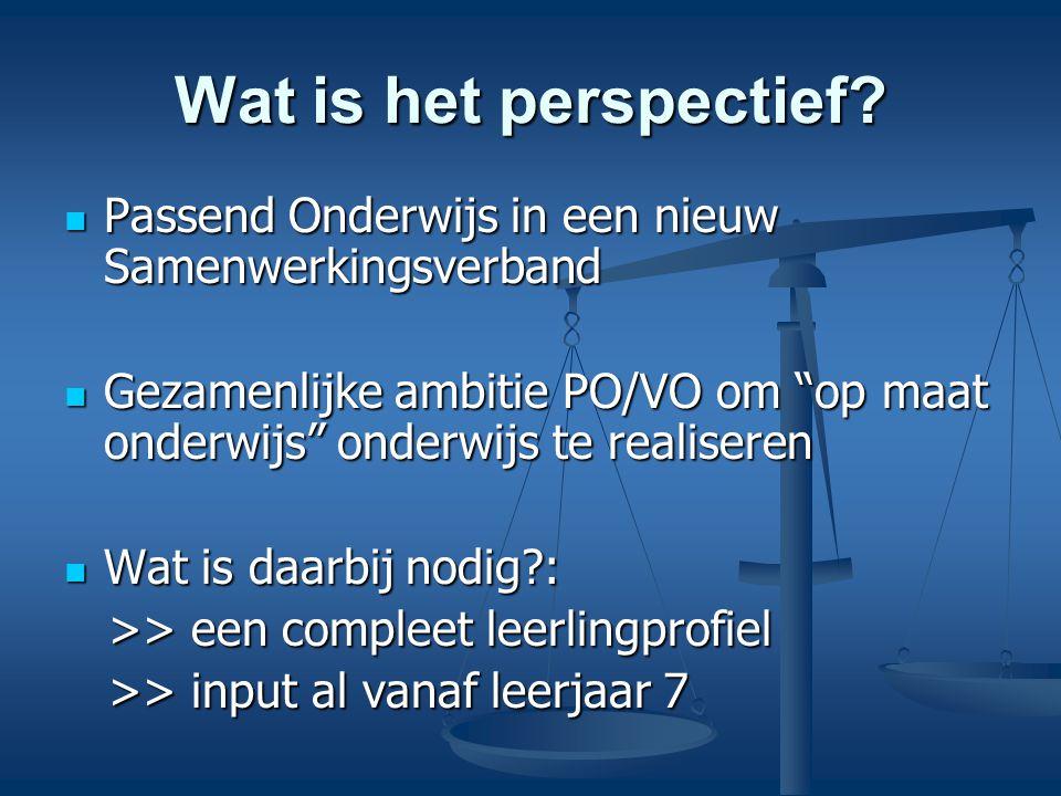 Wat is het perspectief? Passend Onderwijs in een nieuw Samenwerkingsverband Passend Onderwijs in een nieuw Samenwerkingsverband Gezamenlijke ambitie P