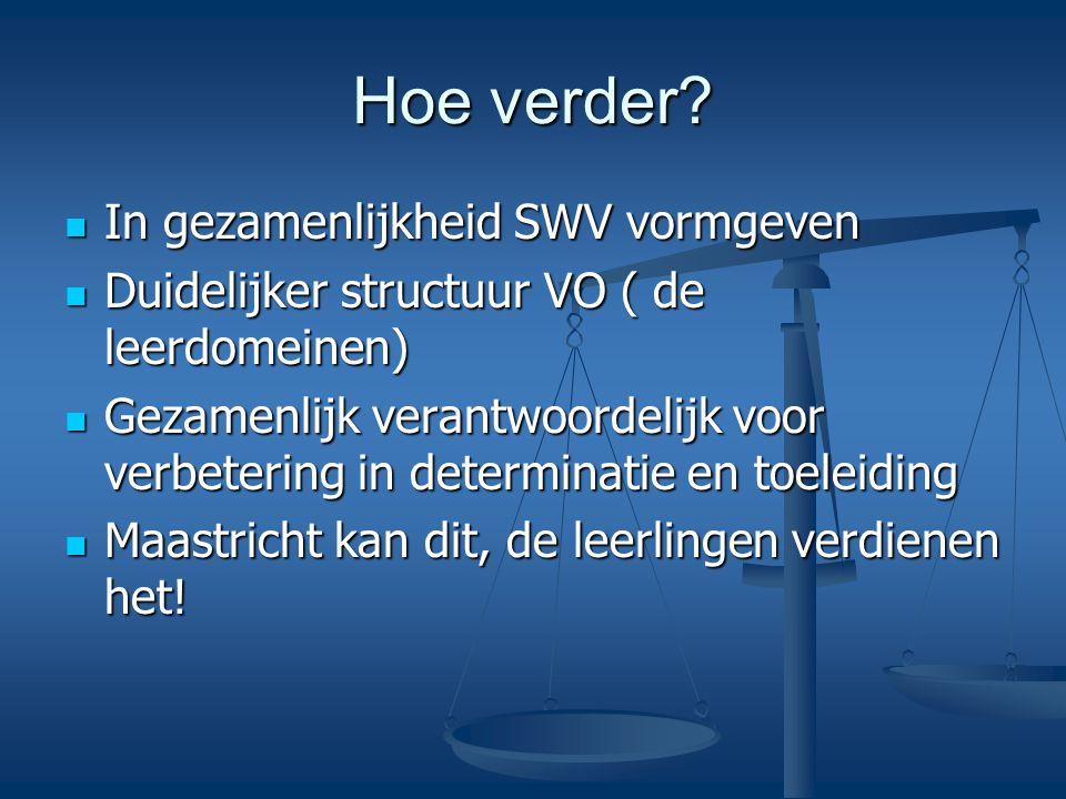 Hoe verder? In gezamenlijkheid SWV vormgeven In gezamenlijkheid SWV vormgeven Duidelijker structuur VO ( de leerdomeinen) Duidelijker structuur VO ( d