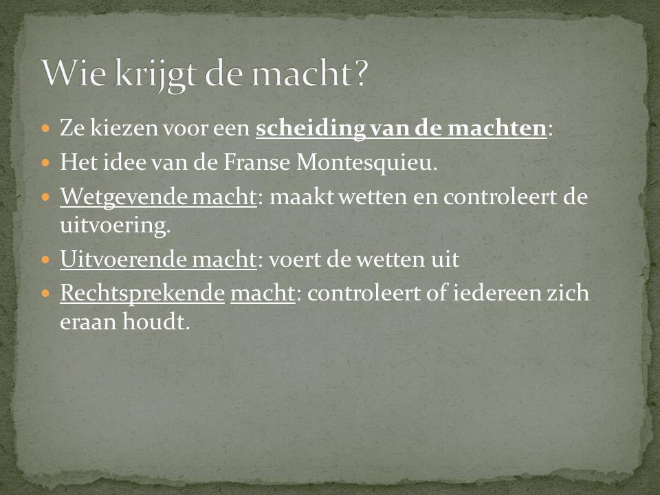 Ze kiezen voor een scheiding van de machten: Het idee van de Franse Montesquieu.