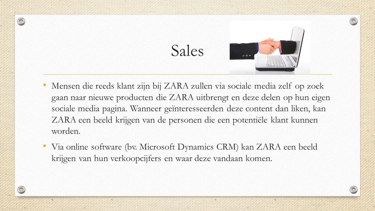 Sales Mensen die reeds klant zijn bij ZARA zullen via sociale media zelf op zoek gaan naar nieuwe producten die ZARA uitbrengt en deze delen op hun eigen sociale media pagina.