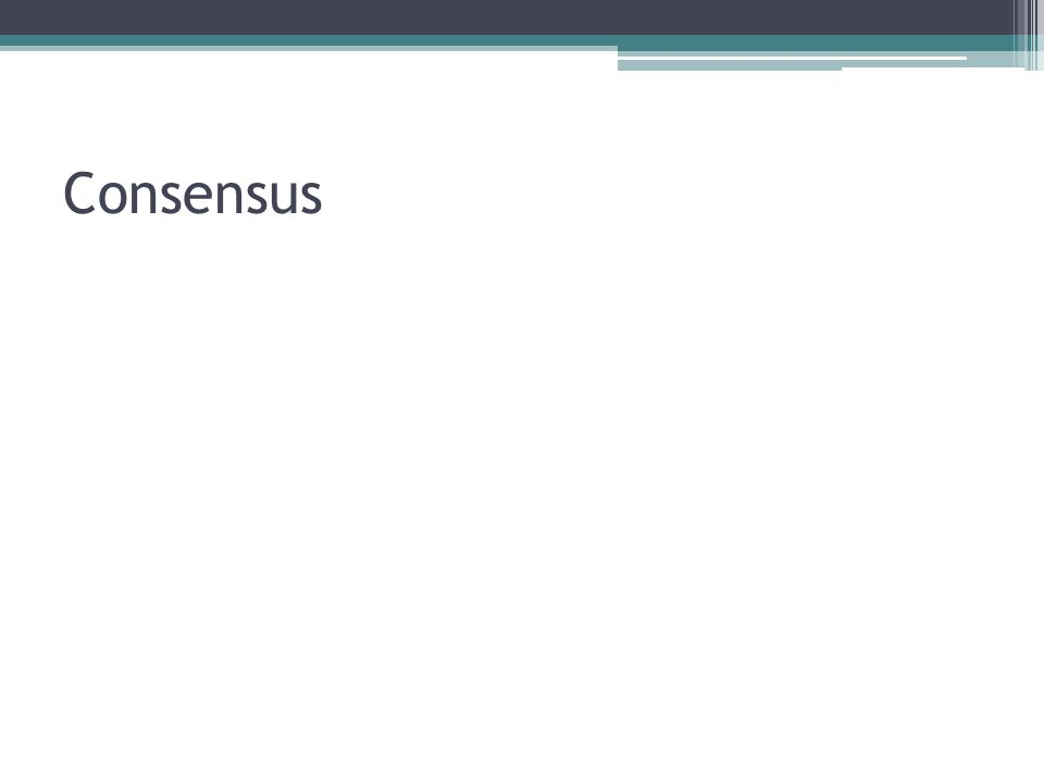 Membership Vrijwillige participatie ▫Join/Leave request (niet consensus) ▫Changeview bericht (consensus) Onvrijwillig vertrekken ▫Heartbeats ▫Antwoord: Client nog aanwezig ▫Geen antwoord: Client crash/dc ▫Changeview bericht (consensus)