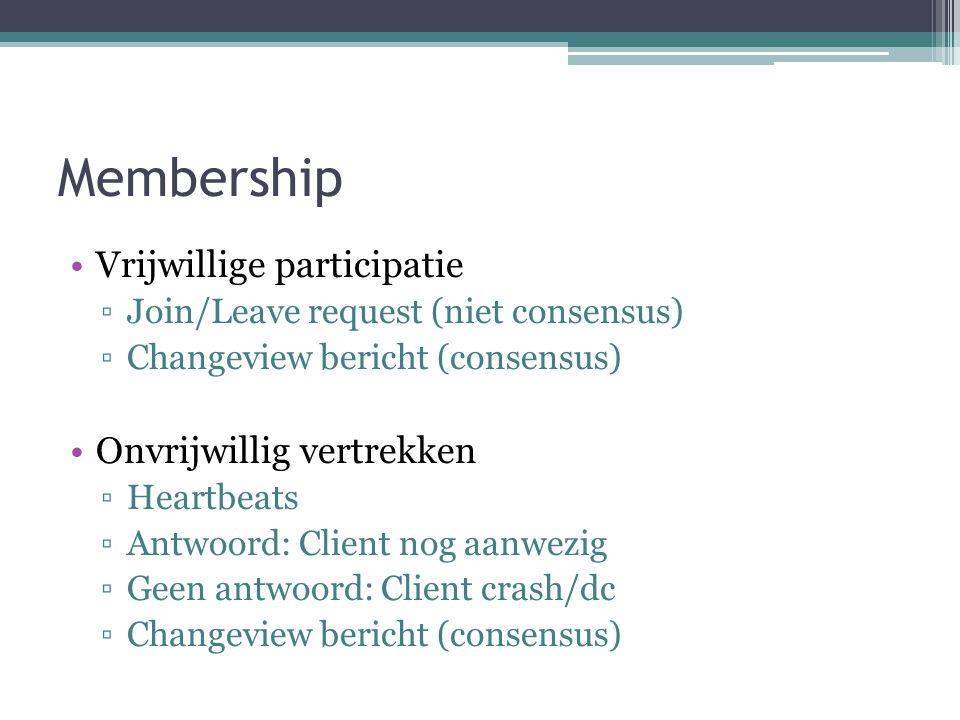 Membership Vrijwillige participatie ▫Join/Leave request (niet consensus) ▫Changeview bericht (consensus) Onvrijwillig vertrekken ▫Heartbeats ▫Antwoord