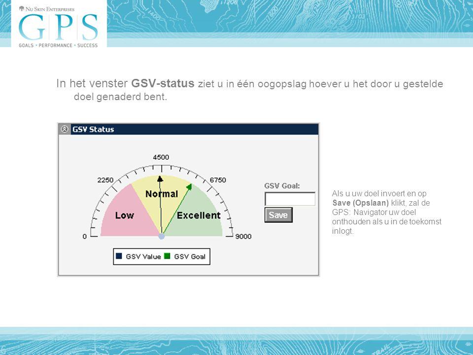 In het venster GSV-status ziet u in één oogopslag hoever u het door u gestelde doel genaderd bent.