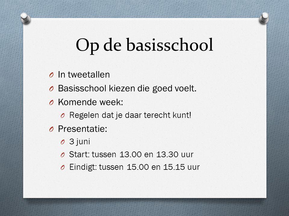 Op de basisschool O In tweetallen O Basisschool kiezen die goed voelt.