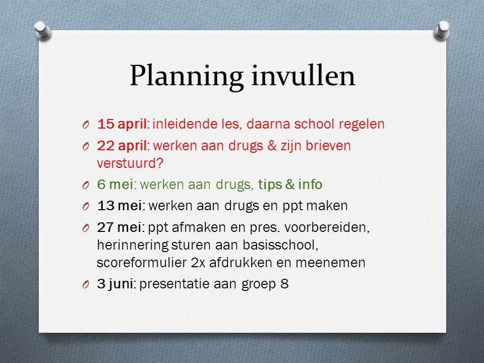 Planning invullen O 15 april: inleidende les, daarna school regelen O 22 april: werken aan drugs & zijn brieven verstuurd.