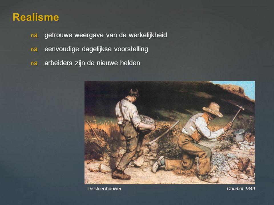  getrouwe weergave van de werkelijkheid  eenvoudige dagelijkse voorstelling  arbeiders zijn de nieuwe helden Realisme De steenhouwer Courbet 184