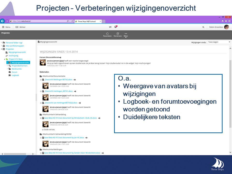 Projecten – Verbeteringen wijzigingenoverzicht O.a. Weergave van avatars bij wijzigingen Logboek- en forumtoevoegingen worden getoond Duidelijkere tek