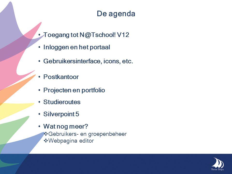 De agenda Toegang tot N@Tschool! V12 Inloggen en het portaal Gebruikersinterface, icons, etc. Postkantoor Projecten en portfolio Studieroutes Silverpo