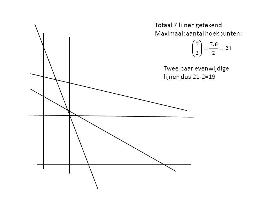 Totaal 7 lijnen getekend Maximaal: aantal hoekpunten: Twee paar evenwijdige lijnen dus 21-2=19