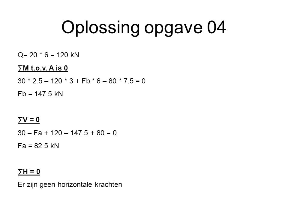 Oplossing opgave 04 Q= 20 * 6 = 120 kN ∑M t.o.v.