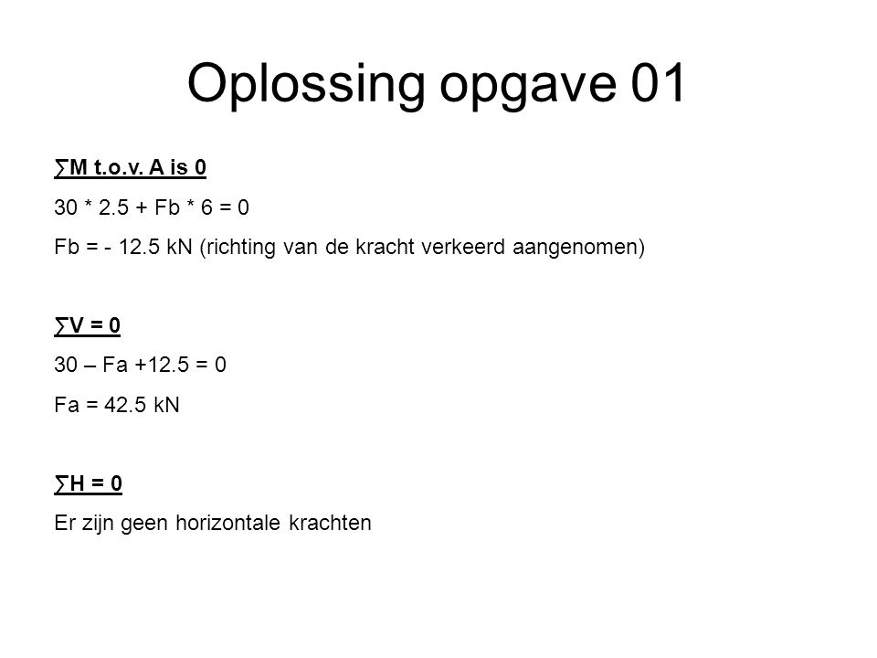 Oplossing opgave 01 6m2,5m 1,5m 30 KN A B Fa = 42.5 KN Fb = 12.5 KN