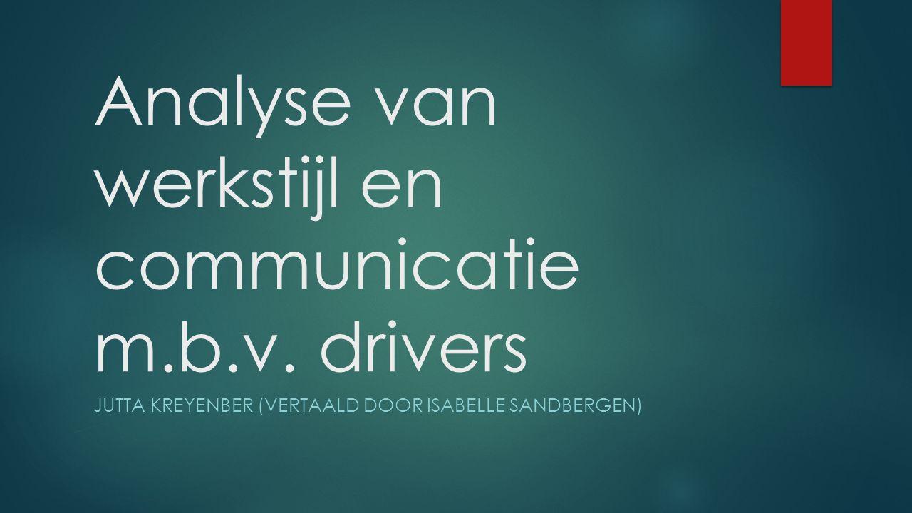 Driverconcept Ontwikkeld door Kahler (1977) Beschrijft daarmee korte, duidelijke waarneembare gedragingen Afweermachenisme ligt ten grondslag van drivers Schiet op Wees perfect Doe je best Maak voort Precies, maak geen fouten, zorgvuldig Geef niet op, doe moeite