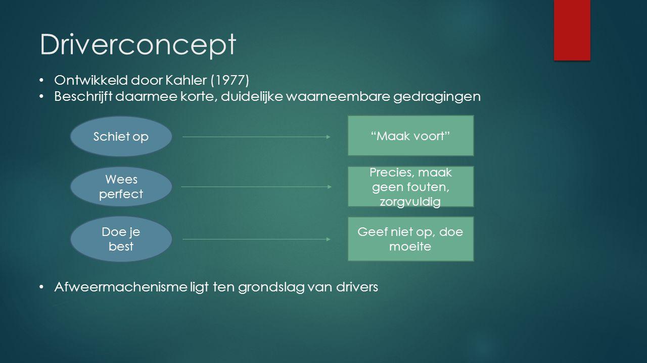 Driverconcept Ontwikkeld door Kahler (1977) Beschrijft daarmee korte, duidelijke waarneembare gedragingen Afweermachenisme ligt ten grondslag van driv