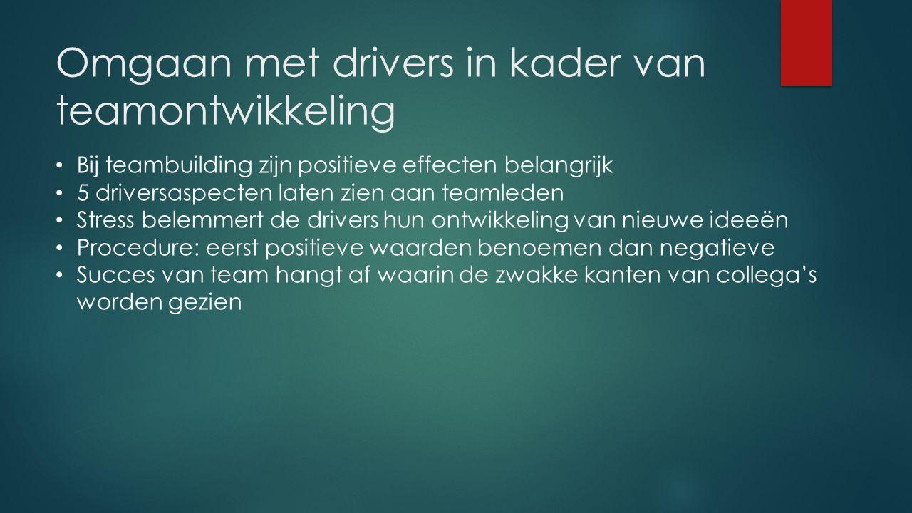 Omgaan met drivers in kader van teamontwikkeling Bij teambuilding zijn positieve effecten belangrijk 5 driversaspecten laten zien aan teamleden Stress