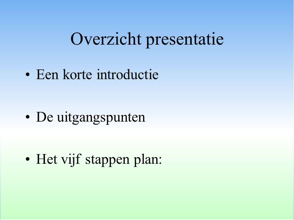 De uitgangspunten Duurzaamheidraamwerk Het raamwerk Een nadere detaillering Integratie: het T-model