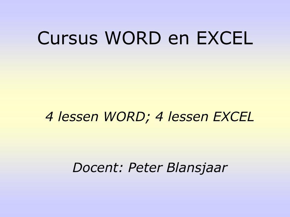 Word-scherm Werkbalken Document opslaan Tekst typen en opslaan Selecteren in kleur Uitleg Word Onderwerpen WORD les 1
