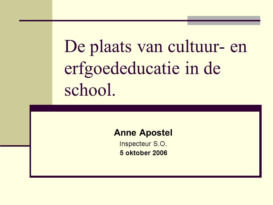De plaats van cultuur- en erfgoededucatie in de school. Anne Apostel Inspecteur S.O. 5 oktober 2006