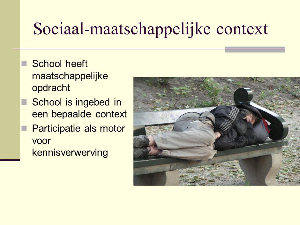 Sociaal-maatschappelijke context School heeft maatschappelijke opdracht School is ingebed in een bepaalde context Participatie als motor voor kennisve