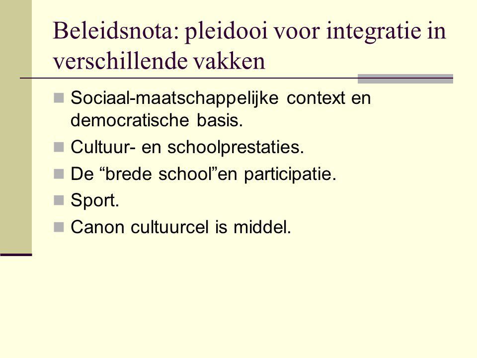 Beleidsnota: pleidooi voor integratie in verschillende vakken Sociaal-maatschappelijke context en democratische basis. Cultuur- en schoolprestaties. D