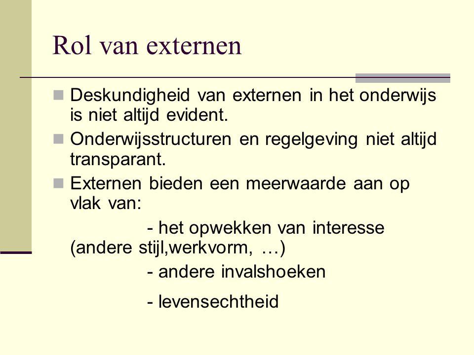Rol van externen Deskundigheid van externen in het onderwijs is niet altijd evident. Onderwijsstructuren en regelgeving niet altijd transparant. Exter