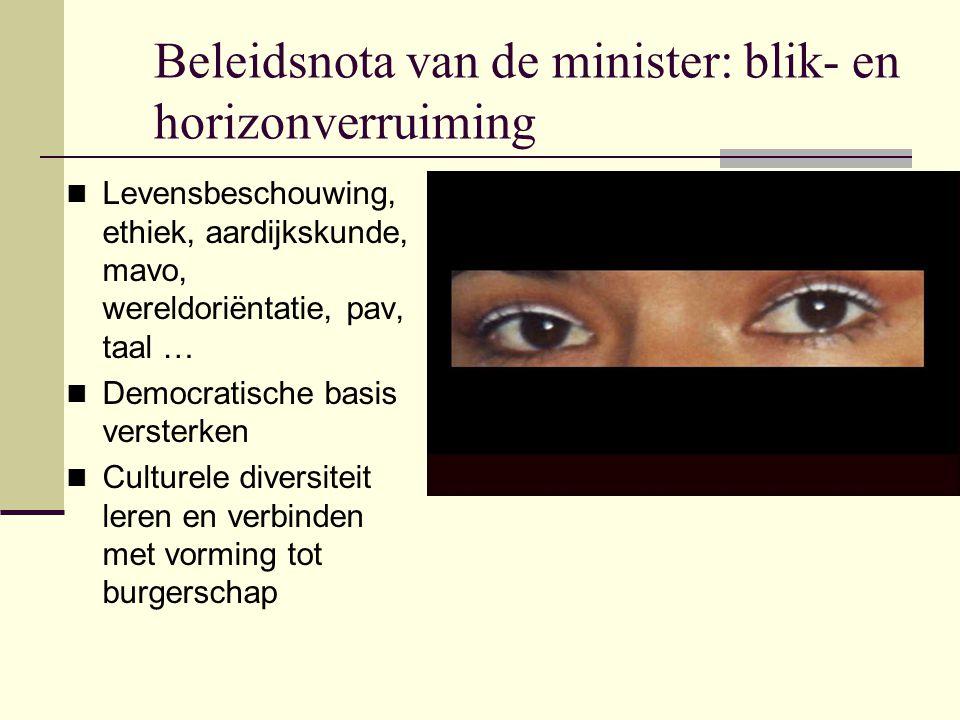 Beleidsnota van de minister: blik- en horizonverruiming Levensbeschouwing, ethiek, aardijkskunde, mavo, wereldoriëntatie, pav, taal … Democratische ba