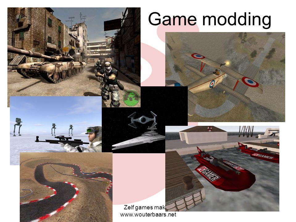 Zelf games maken www.wouterbaars.net Level Editting Worden bij veel games meegeleverd Eigen speler, level, avatar, monsters enz. maken Wel extern 3d o