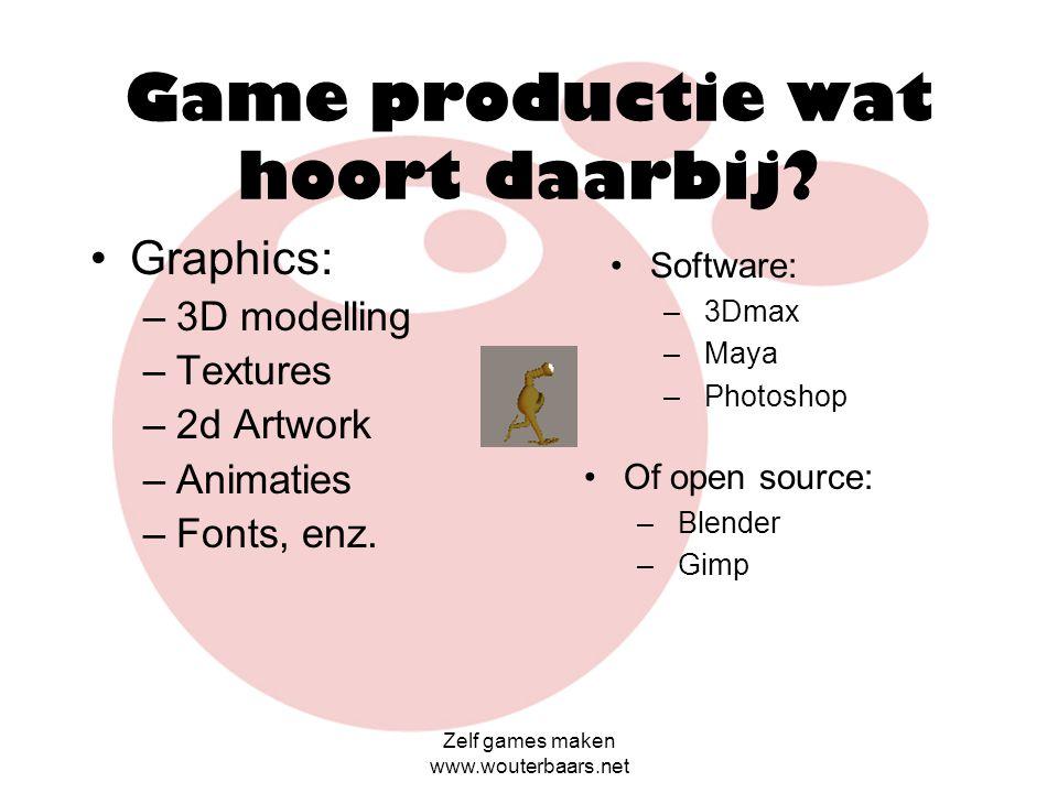 Zelf games maken www.wouterbaars.net Games Maken NFF & SBA Wouter Baars