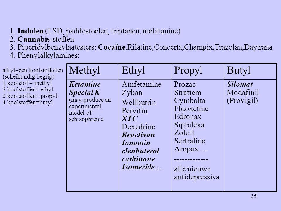 35 1. Indolen (LSD, paddestoelen, triptanen, melatonine) 2.