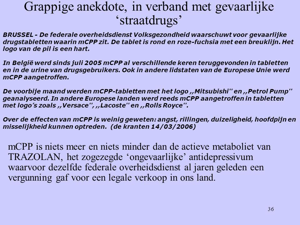 36 BRUSSEL - De federale overheidsdienst Volksgezondheid waarschuwt voor gevaarlijke drugstabletten waarin mCPP zit.