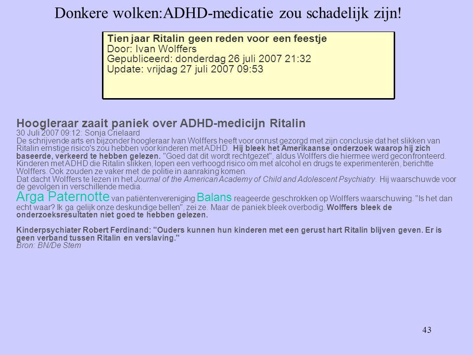 43 Donkere wolken:ADHD-medicatie zou schadelijk zijn.