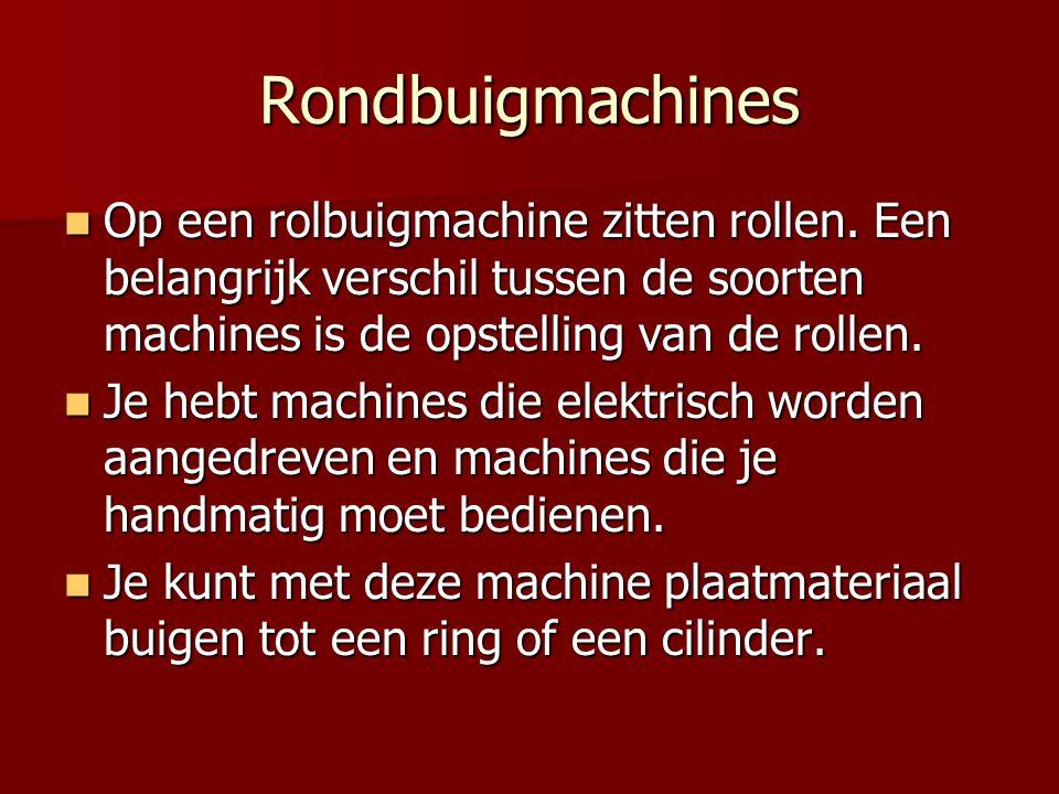 Rondbuigmachines Op een rolbuigmachine zitten rollen. Een belangrijk verschil tussen de soorten machines is de opstelling van de rollen. Op een rolbui