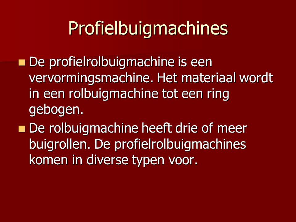Profielbuigmachines De profielrolbuigmachine is een vervormingsmachine. Het materiaal wordt in een rolbuigmachine tot een ring gebogen. De profielrolb