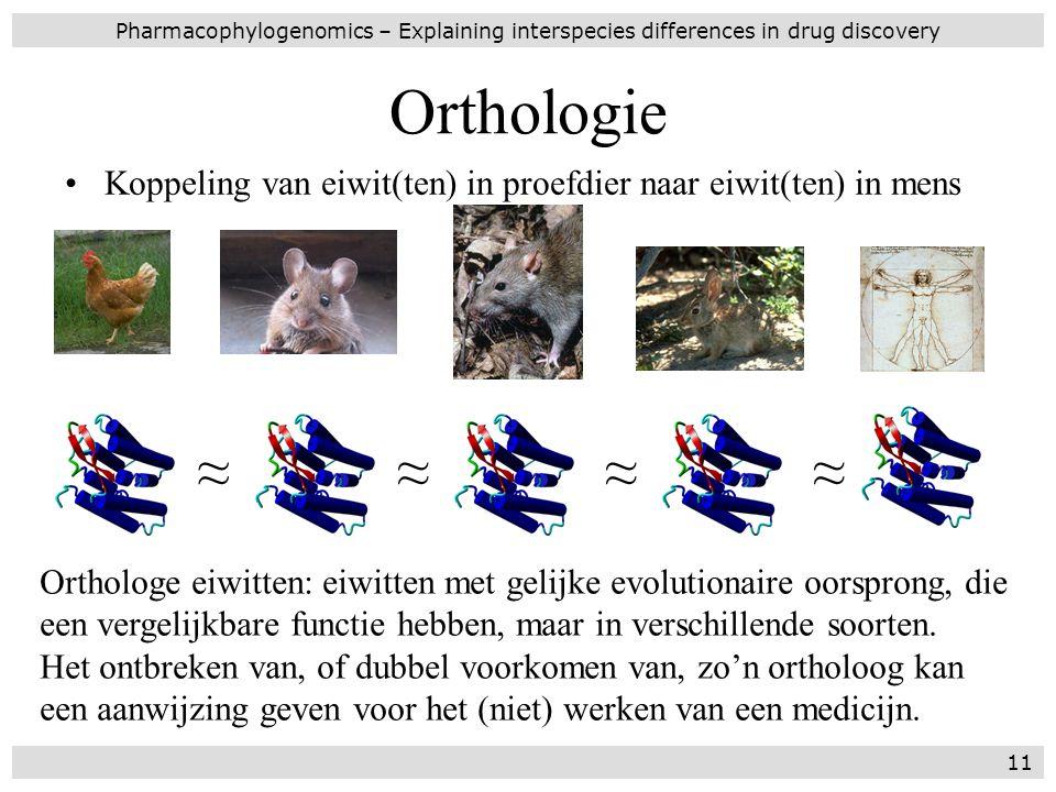 Orthologie Koppeling van eiwit(ten) in proefdier naar eiwit(ten) in mens Pharmacophylogenomics – Explaining interspecies differences in drug discovery
