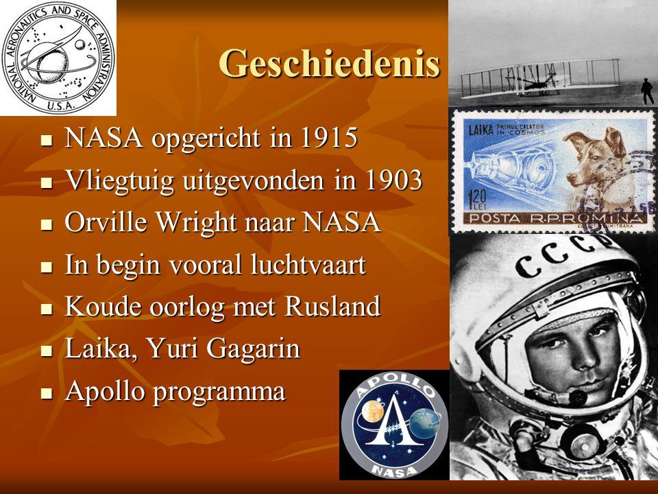 Geschiedenis NASA opgericht in 1915 NASA opgericht in 1915 Vliegtuig uitgevonden in 1903 Vliegtuig uitgevonden in 1903 Orville Wright naar NASA Orvill
