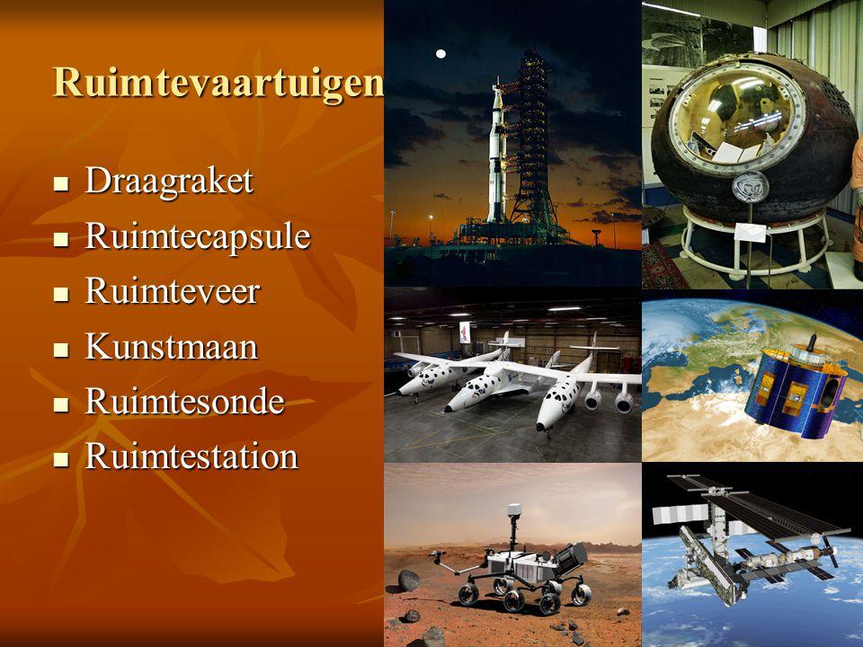 Ruimtevaartuigen Draagraket Draagraket Ruimtecapsule Ruimtecapsule Ruimteveer Ruimteveer Kunstmaan Kunstmaan Ruimtesonde Ruimtesonde Ruimtestation Rui