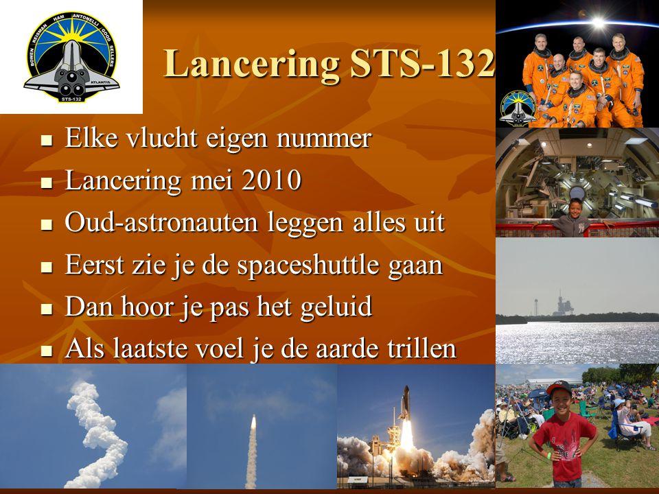 Lancering STS-132 Elke vlucht eigen nummer Elke vlucht eigen nummer Lancering mei 2010 Lancering mei 2010 Oud-astronauten leggen alles uit Oud-astrona