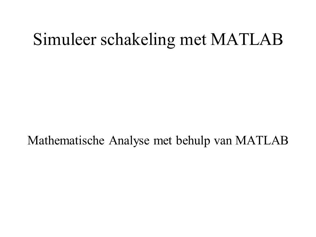 Simuleer schakeling met MATLAB Mathematische Analyse met behulp van MATLAB