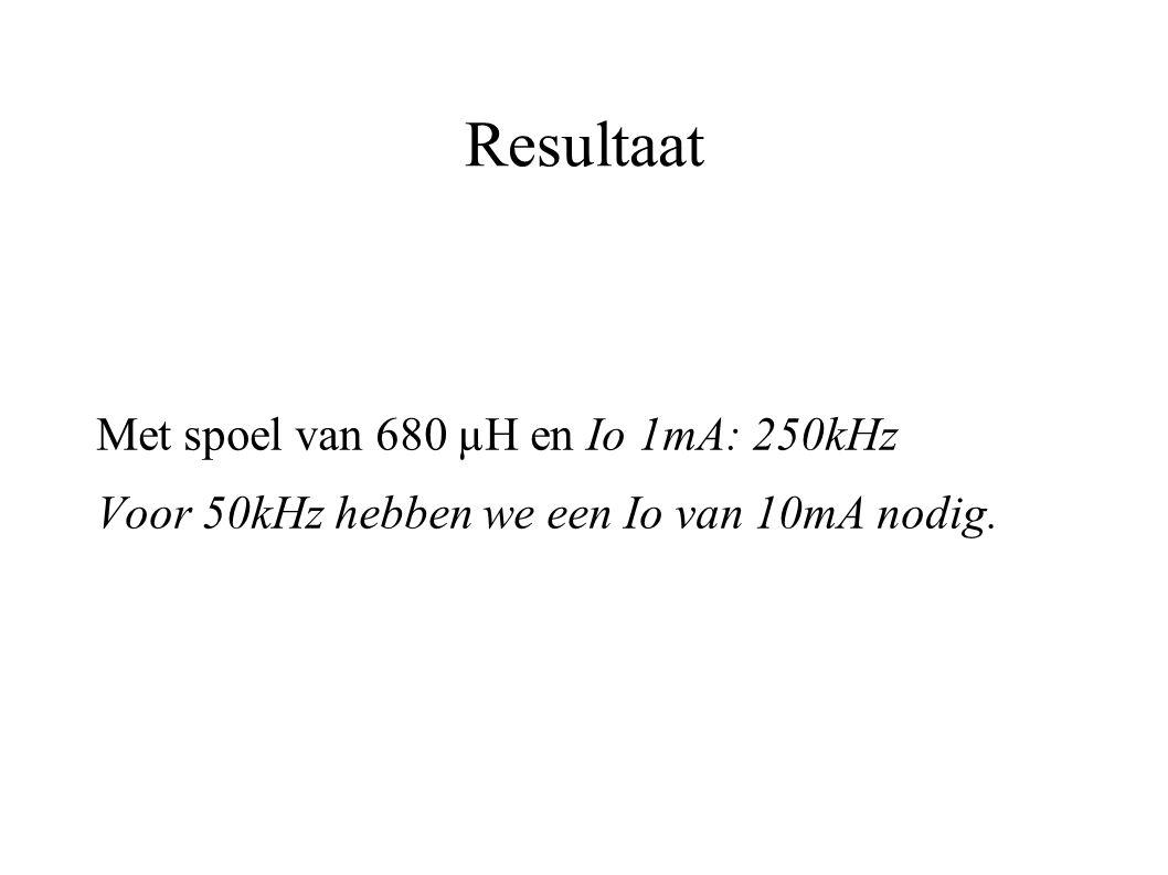 Resultaat Met spoel van 680 µH en Io 1mA: 250kHz Voor 50kHz hebben we een Io van 10mA nodig.